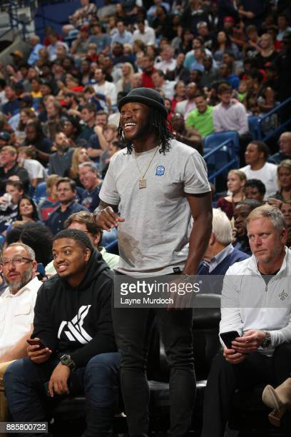 New Orleans Saints running back Alvin Kamara attends the game between the Golden State Warriors and the New Orleans Pelicans on December 4 2017 at...