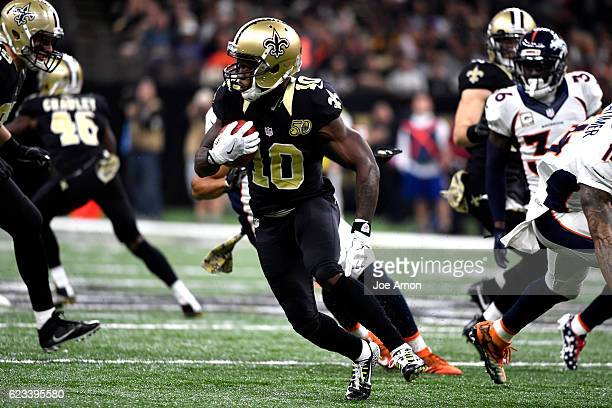 New Orleans Saints wide receiver Brandin Cooks picks up extra yards in the first half against the Denver Broncos at the MercedesBenz Superdome New...