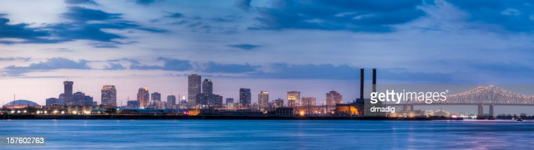 New Orleans Skyline from Across Mississippi River at Sunset