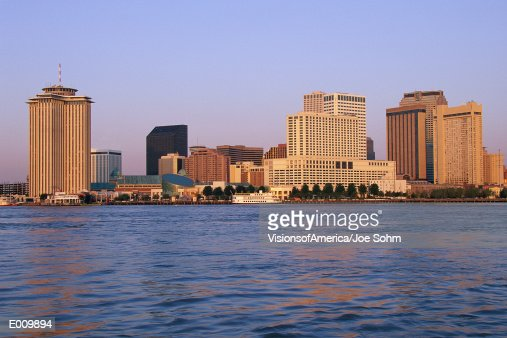 New Orleans skyline, seen from the Mississippi River : Stock Photo