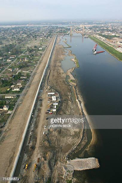 A view of the repaired breech is shown in the Industrial Canal levee wall 11 July 2006 in New Orleans Louisiana More than 10 months after Hurricane...