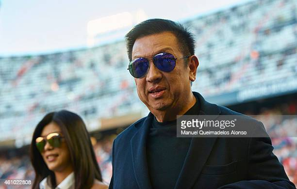 New owner of Valencia CF Peter Lim looks on prior to the start of the La Liga match between Valencia CF and Real Madrid CF at Estadi de Mestalla on...
