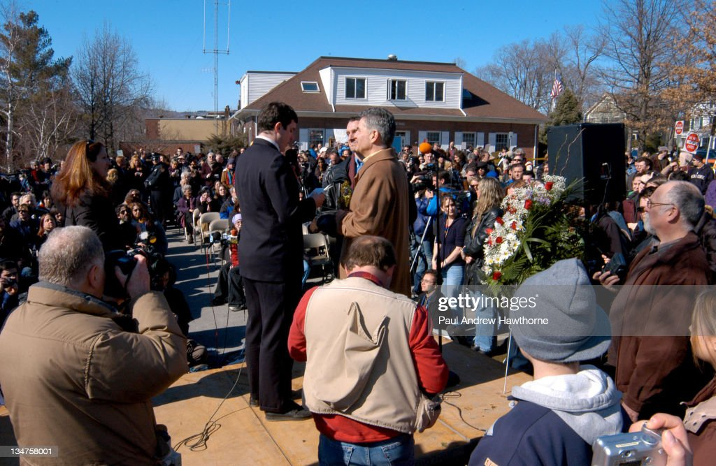 New Paltz Mayor Jason West performs a wedding ceremony for John North and his partner Andrew Burgreen of Manhattan New York as hundreds of people...