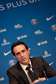 New Paris SaintGermain Coach Unai Emery addresses the press during his presentation to the media at Parc des Princes on July 4 2016 in Paris France...