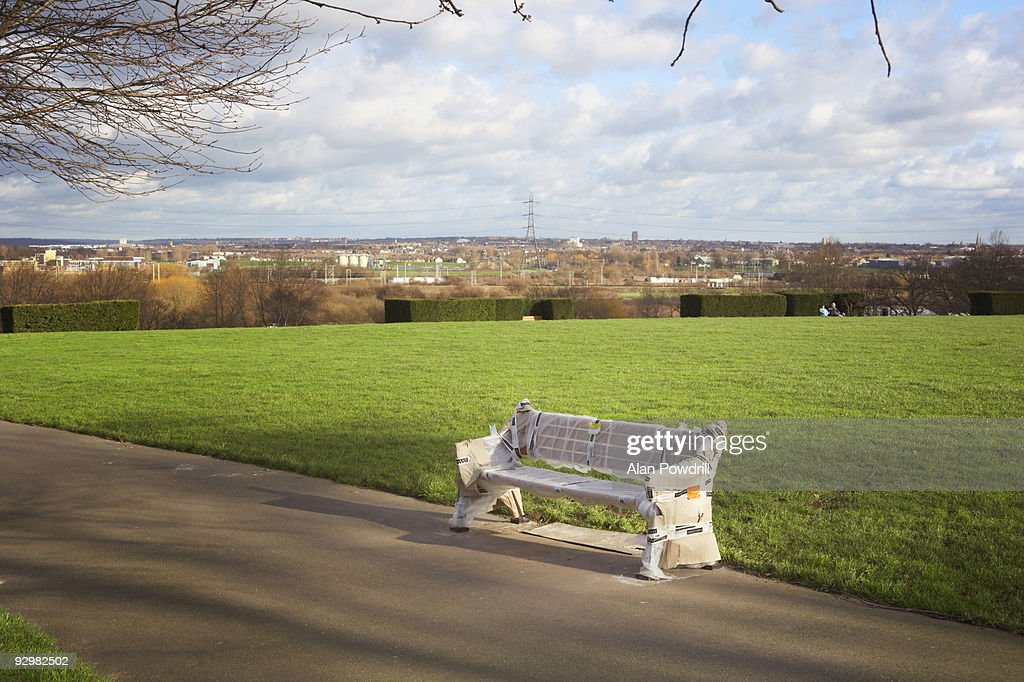 New Park bench : Stock Photo
