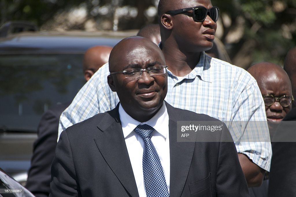 New Patriotic Party vice presidential candidate Mahamudu Bawumia arrives on April 22 2013 at Ghana's Supreme Court in Accra Ghana's government on...