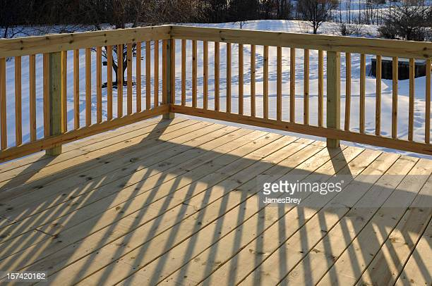 New Pine Patio Deck Floor Surface, Morning Sun, Railing Shadow
