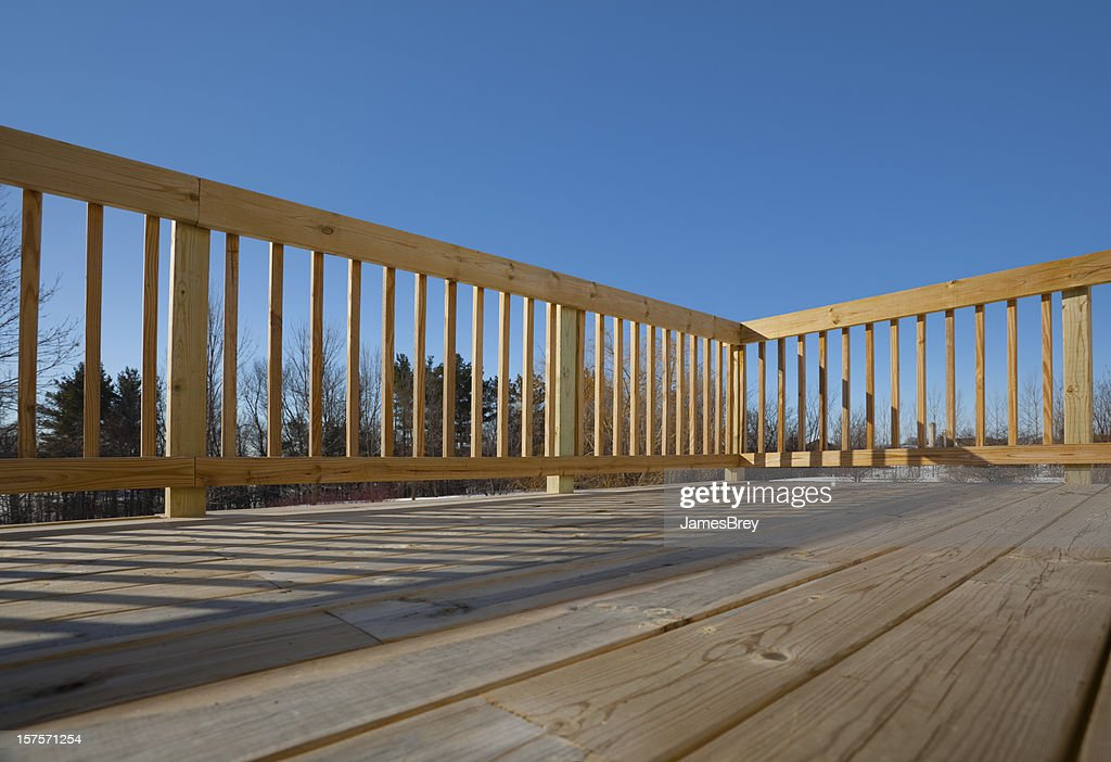 New Pine Wood Lumber Patio Deck Surface With Railing, Shadow : Stock Photo