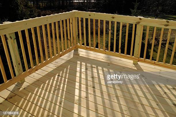 New Pine Wood Stock Lumber Patio Deck Building, Railing, Shadow