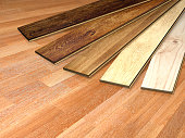 New planks of oak parquet of different colors on wooden floor. 3d render