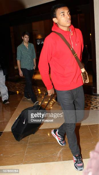 New player Luiz Gustavo arrives at the Hotel Grand Hyatt during the FC Bayern Muenchen training camp on January 3 2011 in Doha Qatar