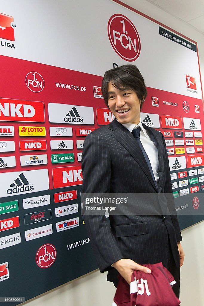 New Player Mu Kanazaki smiles during a press conference presenting him as a newly signed player to 1. FC Nuernberg on January 30, 2013 at the Sportpark Valznerweiher in Nuremberg, Germany.