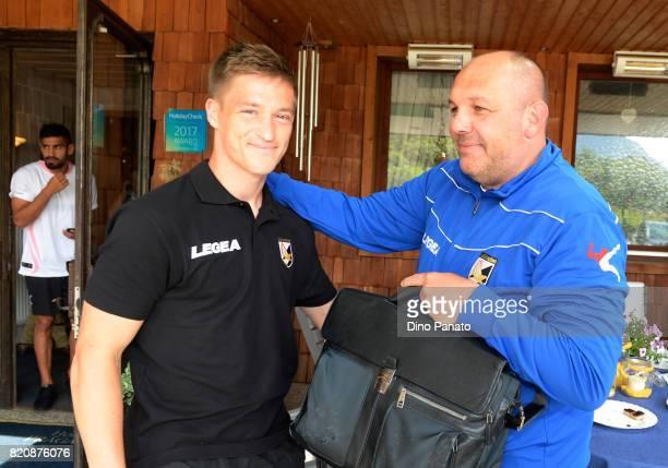 new player Murawski Radoslaw with Bruno Tedino head coach of US Citta di Palermo during US Citta di Palermo Training Session at Sport Arena on July...