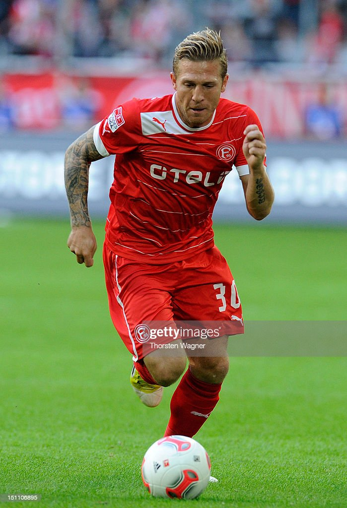 New player of Duesseldorf Andrey Voronin runs with the ball during the Bundesliga match between Fortuna Duesseldorf and Borussia Moenchengladbach at...