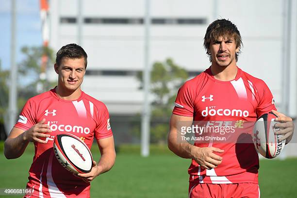 New players Eben Etzebeth and Handre Pollard of NTT DoCoMo Red Hurricanes are seen after a press conference on November 11 2015 in Osaka Japan