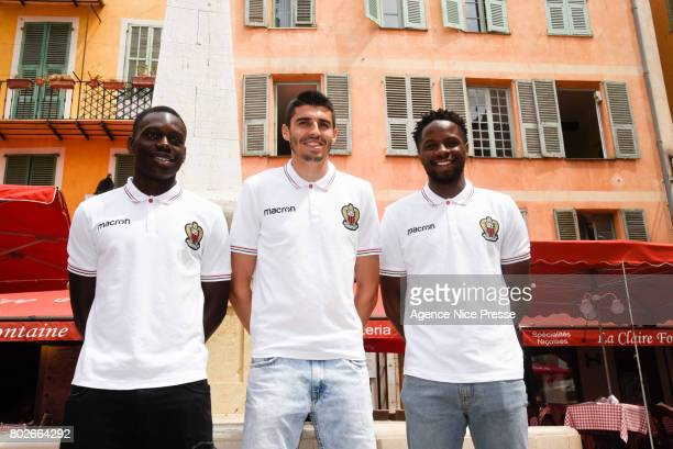 New players Jean Victor Makengo Pierre Lees Melou and Adrien Tameze of Nice during fan's meeting with new players of OGC Nice on June 28 2017 in Nice...