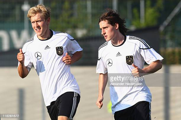 New players Lewis Holtby and Sebastian Rudy of Germany attend a training session on June 5 2011 in Vienna Austria