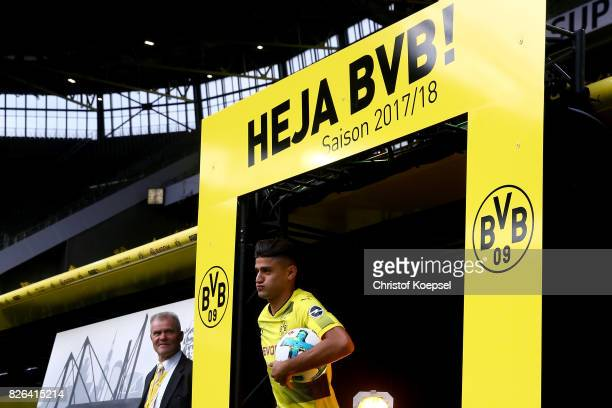 New playwer Mahmoud Dahoud welcomes the fans during the Borussia Dortmund Season Opening 2017/18 at Signal Iduna Park on August 4 2017 in Dortmund...