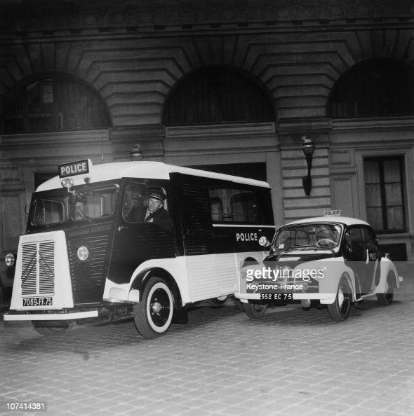 new police car and van a renault 4cv and a citroen tub type h van on june 1954 pictures getty. Black Bedroom Furniture Sets. Home Design Ideas