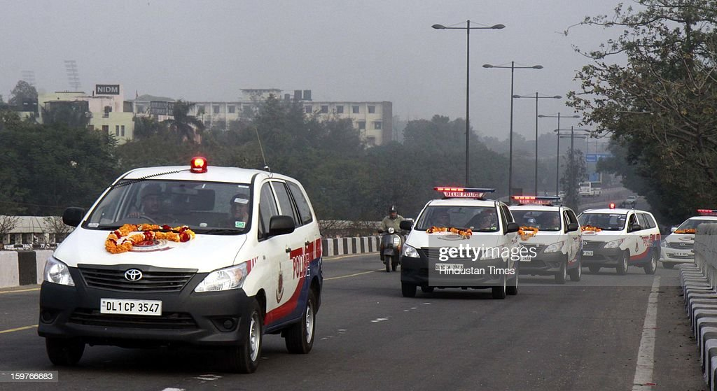 New Police Control Room (PCR) vans running at Delhi roads, after IPS officer & Special Commissioner of Delhi Police, Law/Justice Deepak Mishra flag off new Police Control Room (PCR) vans during a flag off ceremony at PHQ on January 20, 2013 in New Delhi, India. In the wake of the recent gang-rape-cum-murder case, the Home Ministry recently gave approval for 370 new PCR vehicles in the capital and Delhi police are exploring new technologies to further enhance the performance of global positioning system-enabled 'Police Control Room' patrol vans by reducing their response time to distress calls.