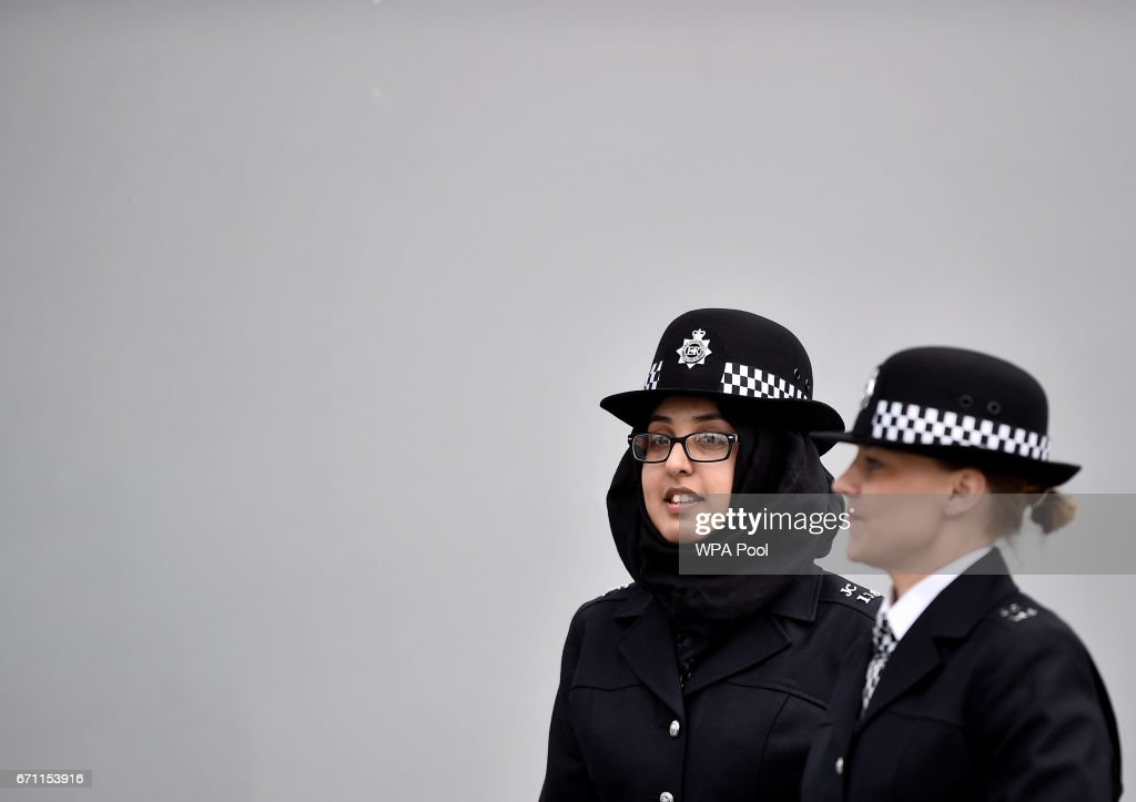 New Police recruits prepare to take part in a passing-out parade at the Metropolitan Police Academy at Peel House, Hendon on April 21, 2017 in London, England.