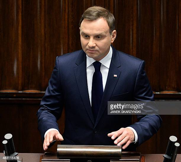 New Polish President Andrzej Duda addresses the parliament after his swearing in ceremony on August 6 2015 in Warsaw Andrzej Duda the 43yearold...