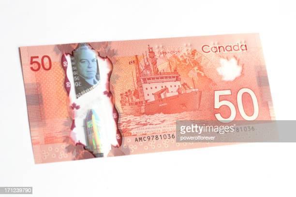 New Polymer Canadian Fifty Dollar Bill - Back