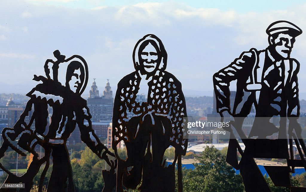 A new portrait bench celebrating three local icons Kitty Wilkinson, Molly Bushell and a dock worker overlooks the city of Liverpool from Everton Park on October 18, 2012 in Liverpool, England. The portrait bench is one of a series of benches that are part of a national Sustrans project, which helps people to make more of their everyday journeys by foot, bike and public transport. Local residents chose Kitty Wilkinson for her pioneering work in national public health and Molly Bushell the founder of the Everton Toffee Shop. 'The Dock Worker' was selected for his role as a vital labourer at the heart of Liverpool's industrial revolution.