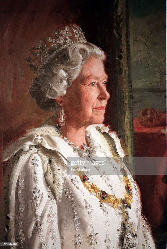 New Portrait Painting Of The Queen In Her Robes For The State Opening Of Parliament By Artist Andrew Festing For The Royal Hospital In Chelsea