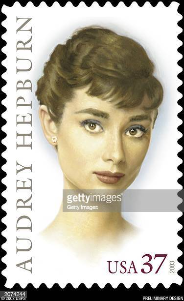 A new postage stamp honoring Hollywood legend and humanitarian Audrey Hepburn The stamp art a painting by Michael J Deas features a portrait of...
