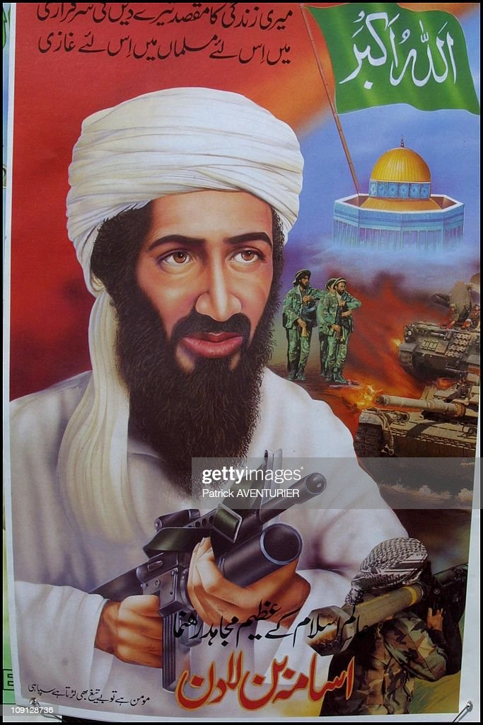 New Poster Of Osama Ben Laden On January 10Th, 2001, Pakistan.