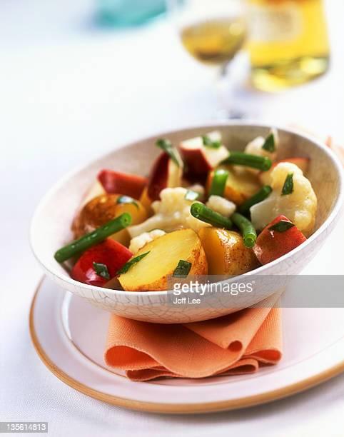 New potato salad with apple, cauliflower & green beans