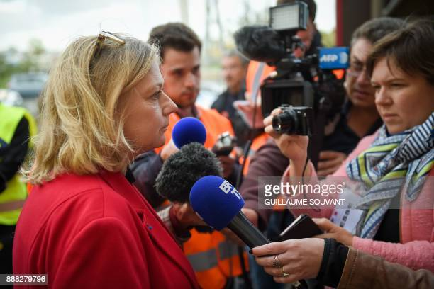New prefet of Indre and Loire Corinne Orzechowski speaks to the press during an exercise simulating a terrorist attack inside the theatre Espace...