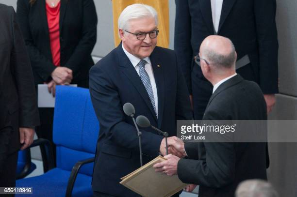 New President FrankWalter Steinmeier is sworn in by President of the German Bundestag Norbert Lammert on March 22 2017 at Bundestag in Berlin Germany...