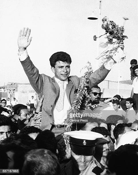 New President of Cyprus and former EOKA gunman Nicos Sampson celebrating his victory following his coup d'etat July 16th 1974