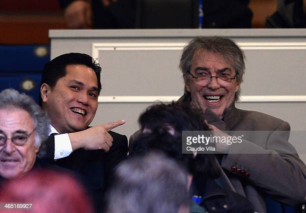 New President of FC Internazionale Milano Erick Thohir and Massimo Moratti during the Serie A match between FC Internazionale Milano and Calcio...
