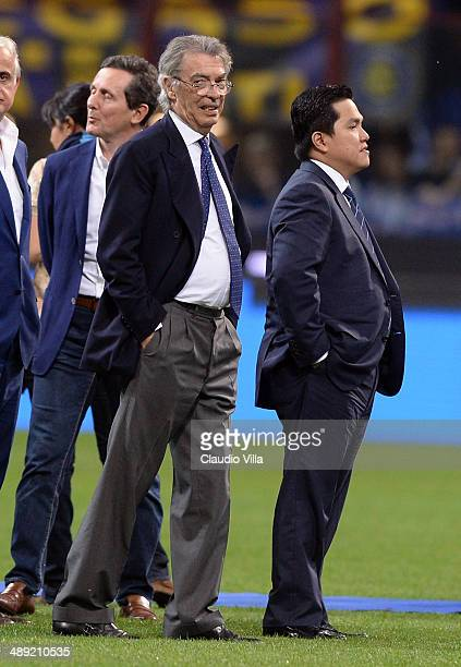 New President of FC Internazionale Milano Erick Thohir and Massimo Moratti after the Serie A match between FC Internazionale Milano and SS Lazio at...