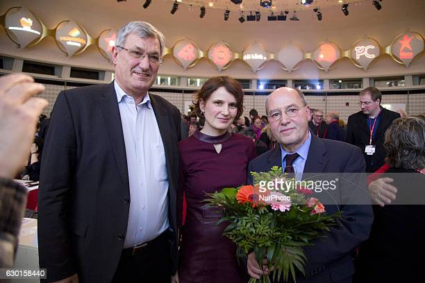 New President of the Party of the European Left Gregor Gysi pose for a picture with Coleaders of Die Linke party Bernd Riexinger and Katja Kipping...