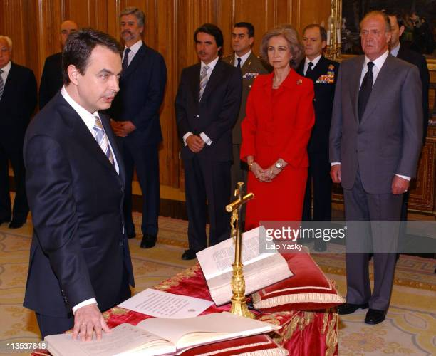 New Prime Minster of Spain Jose Luis Rodriguez Zapatero Jose Maria Aznar former Prime Minister Queen Sofia and King Juan Carlos
