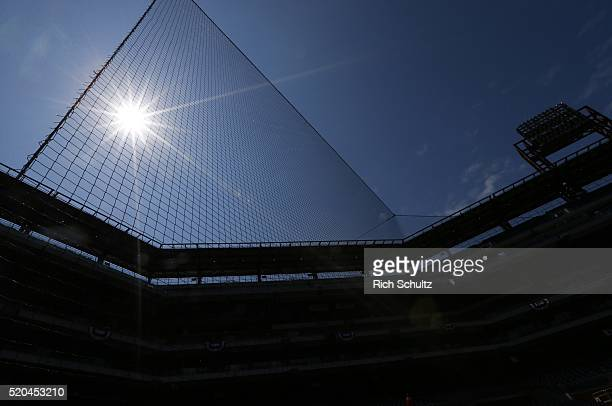 New protective netting now protects lower deck fans from dugout to dugout at Citizens Bank Park before an opening day game between the San Diego...