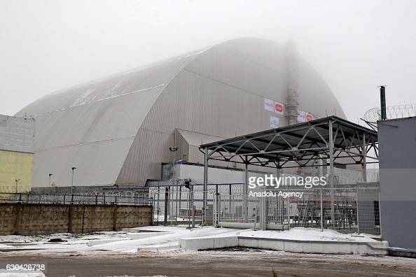 New protective shelter over the nuclear reactor Unit 4 at Chernobyl nuclear power plant is seen in Chernobyl Ukraine on December 22 2016 The...