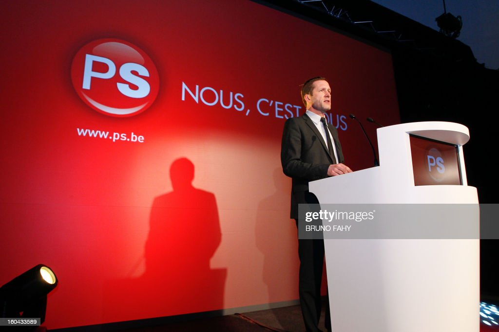 New PS (Socialist Party) chairman Paul Magnette delivers a speech during the new year's reception of the French-speaking socialist party (PS), on January 31, 2013, in Brussels.