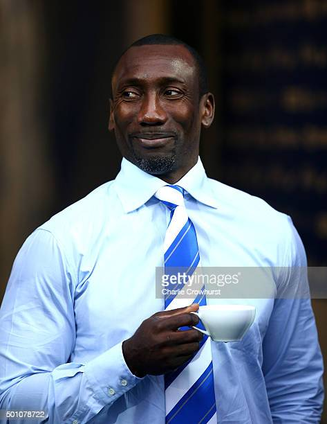 New QPR manger Jimmy Floyd Hasselbaink enjoys a cup of tea before the game during the Sky Bet Championship match between Queens Park Rangers and...