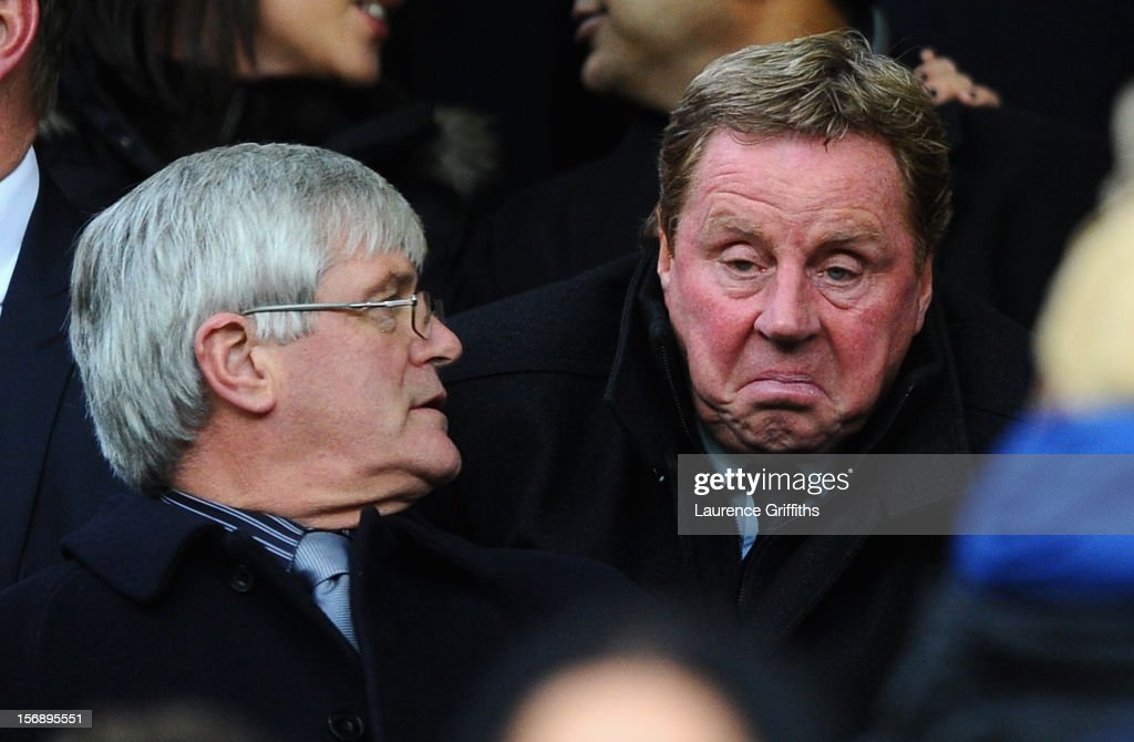 New Queens Park Rangers Manager <a gi-track='captionPersonalityLinkClicked' href=/galleries/search?phrase=Harry+Redknapp&family=editorial&specificpeople=204768 ng-click='$event.stopPropagation()'>Harry Redknapp</a> looks on from the stands during the Barclays Premier League match between Manchester United and Queens Park Rangers at Old Trafford on November 24, 2012 in Manchester, England.