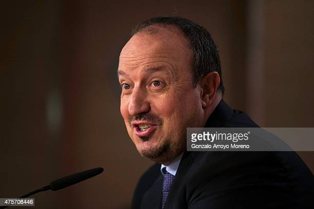 New Real Madrid head coach Rafael Benitez attends questions from the media during the press conference at his presentation at Santiago Bernabeu...