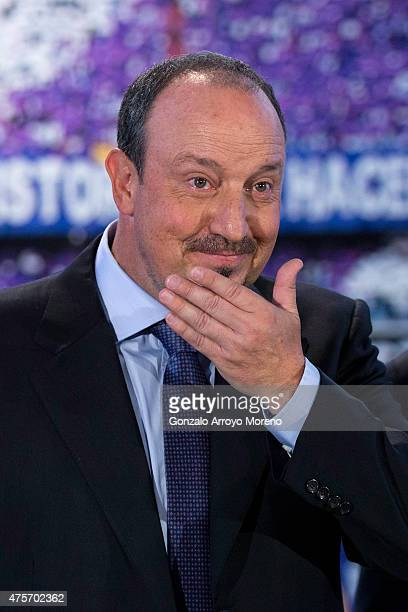 New Real Madrid head coach Rafael Benitez looks on with his eyes wet after his presentation at Santiago Bernabeu stadium on June 3 2015 in Madrid...