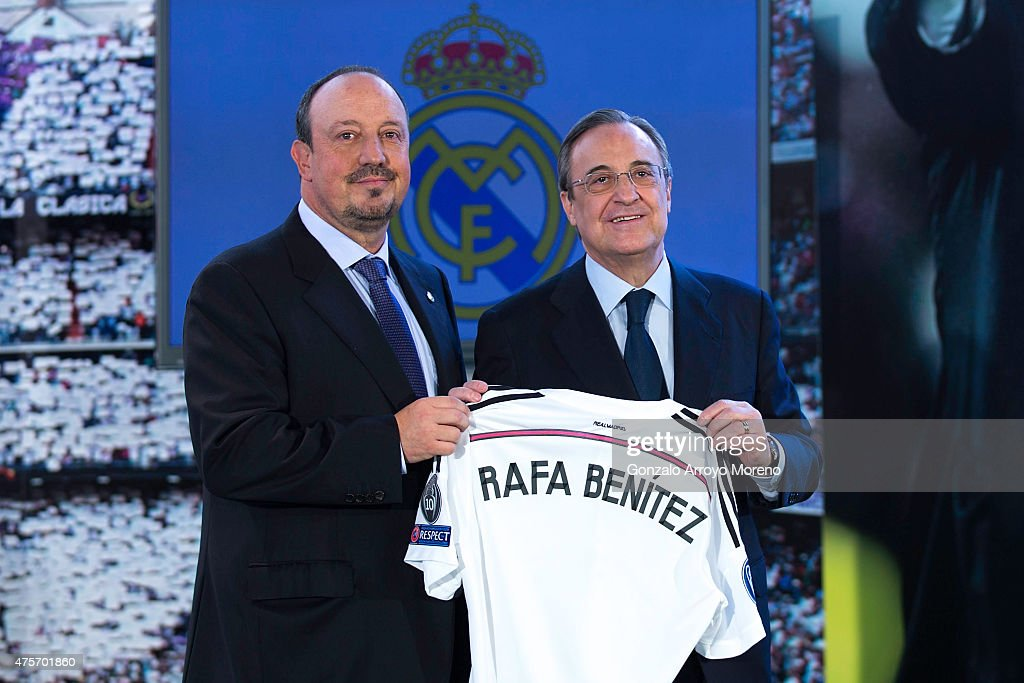 New Real Madrid head coach Rafael Benitez (L) poses for a picture with president Florentino Perez (R) during his presentation at Santiago Bernabeu stadium on June 3, 2015 in Madrid, Spain.