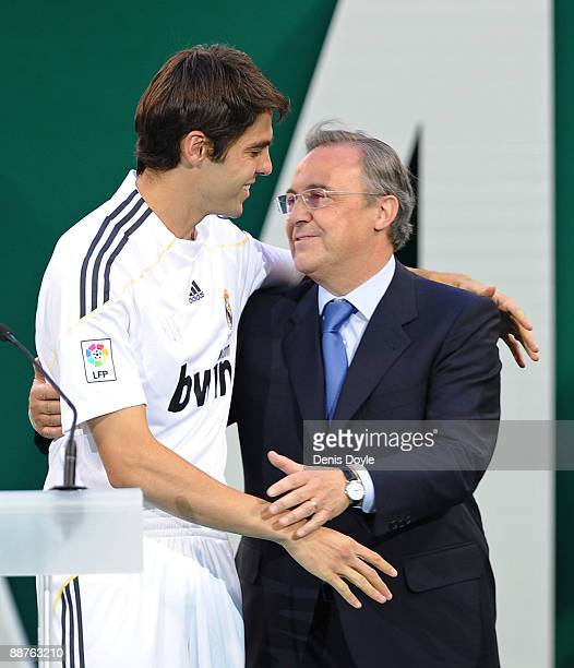 New Real Madrid signing Kaka is embraced by club President Florentino Perez during his official presentation as a Real Madrid player at the Santiago...