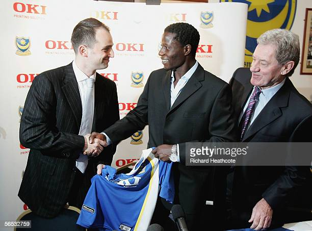 New record signing Zimbabwe international Benjani Mwaruwari is brought in as a surprise at the end of the press conference to meet Russian...