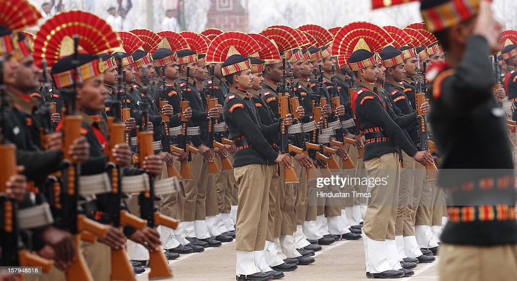 New recruit of the Border Security Force soldiers take part in a passing out parade ceremony at Humhama on December 7, 2012 in the outskirts of Srinagar, India.